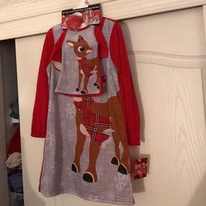 jammies for your families Pajamas - NWT sz 6 Rudolph red nose reindeer nightgown